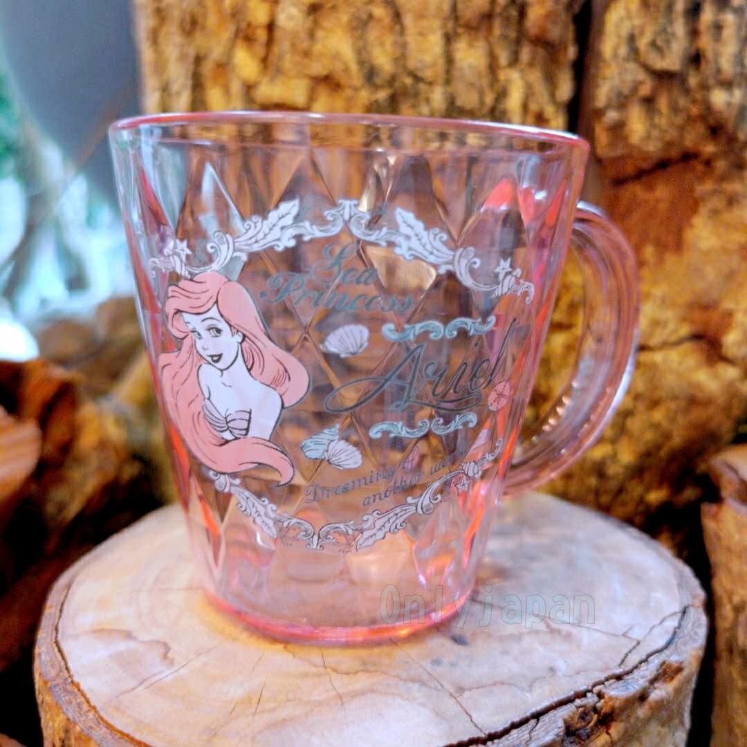菱紋切割透明水杯 艾莉兒復古粉 小美人魚 迪士尼 公主系列 杯 水杯 杯子 單耳杯 馬克杯 真愛日本