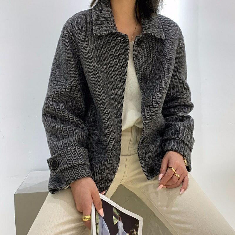 毛呢大衣羊毛外套-短版單排扣簡約人字紋女外套2色73wb27【獨家進口】【米蘭精品】 0