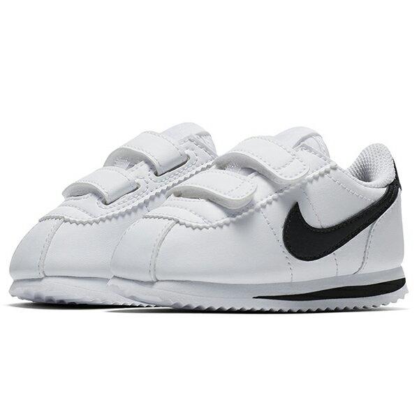 Shoestw【904769-102】NIKE CORTEZ BASIC TDV 阿甘鞋 皮革 黏帶 白黑 小童鞋