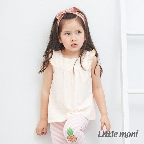 Littlemoni輕甜荷葉袖上衣-淺米色