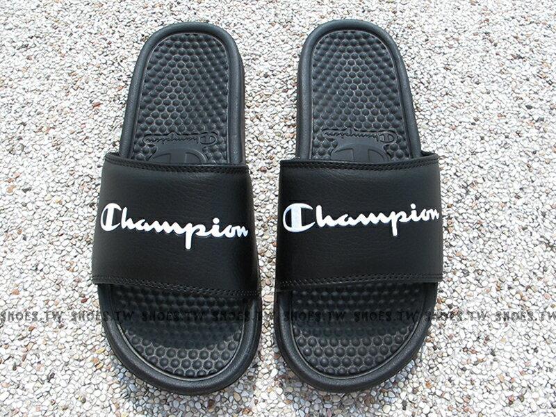 Shoestw【733250211】CHAMPION 拖鞋 運動拖鞋 小LOGO 黑色 男女尺寸 1