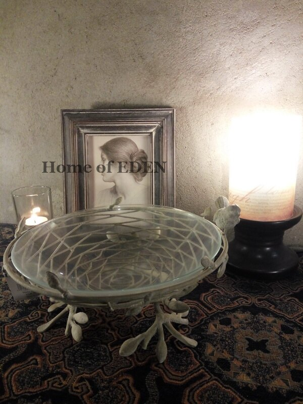 【EDEN】Vintage復古意大利鄉村鐵藝做舊霜化玻璃小鳥巢果盤器皿1入