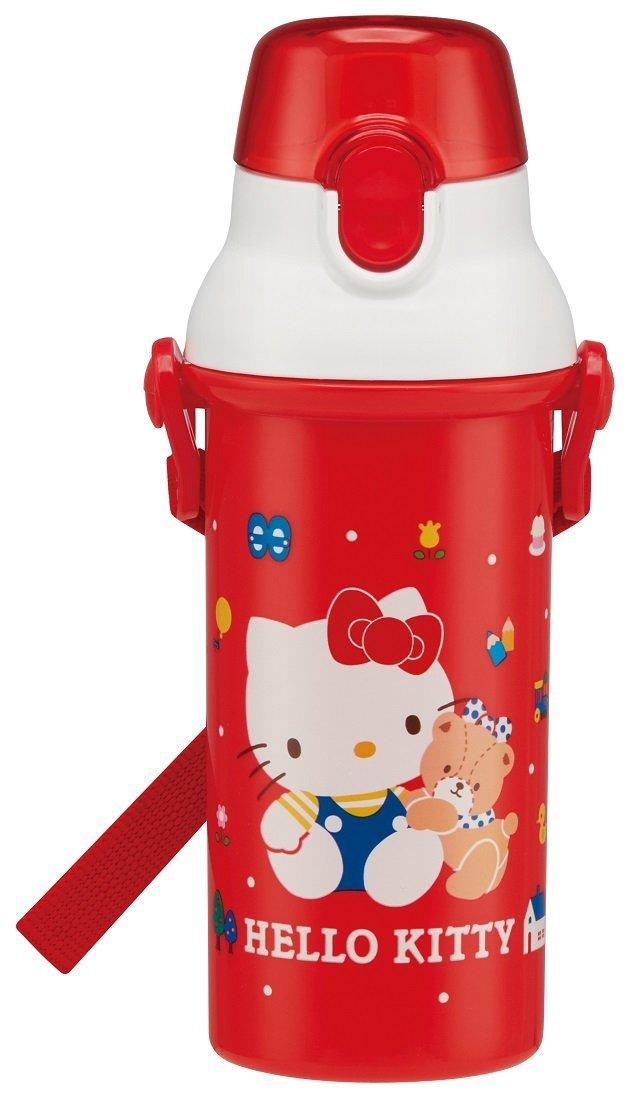 X射線【C359668】Hello Kitty 直飲式背帶兒童塑膠水壺480ml,彈蓋水瓶/隨身瓶/飲水壺/外出水壺/防漏/單手操作