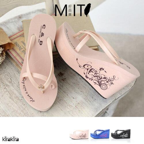 C  D MIT 皇冠品牌刻紋厚底楔型鞋~