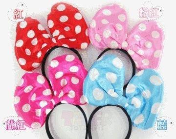 布面 (加大款 不發光) 蝴蝶結 米妮 米奇 迪士尼 髮箍 髮飾 頭飾 派對 變裝道具【塔克】