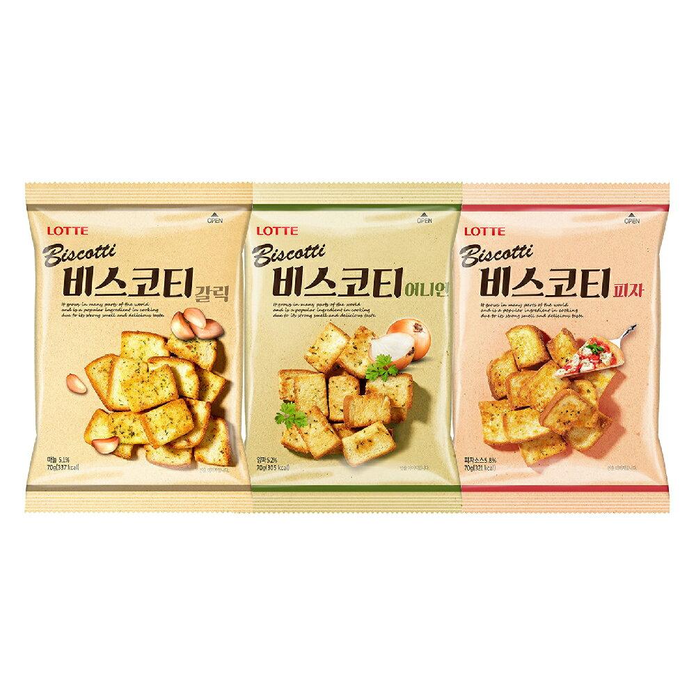 【LOTTE 樂天】大蒜/洋蔥/披薩口味 麵包餅 酥脆口感