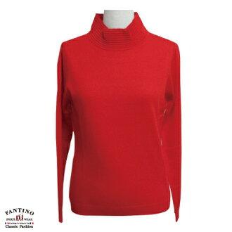 【FANTINO】女裝 可水洗立領保暖羊毛內搭衣(豔紅)187302