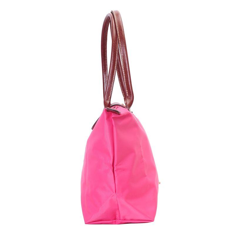 [2605-S號] 國外Outlet代購正品 法國巴黎 Longchamp 長柄 購物袋防水尼龍手提肩背水餃包 粉紅色 2