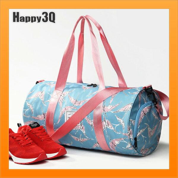 旅行包女生健身包側背包少女健身包鞋子包紅鶴IG打卡運動鞋子收納粉嫩-多色【AAA4167】
