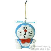 小叮噹週邊商品推薦〔小禮堂〕KittyX哆啦A夢 造型耳機塞吊飾《藍.坐姿.領結》可擦拭螢幕指紋