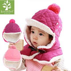 WallFree窩自在★秋冬可愛純色立體毛球保暖毛絨兒童護耳帽帶扣飛行帽+圍脖  2件套