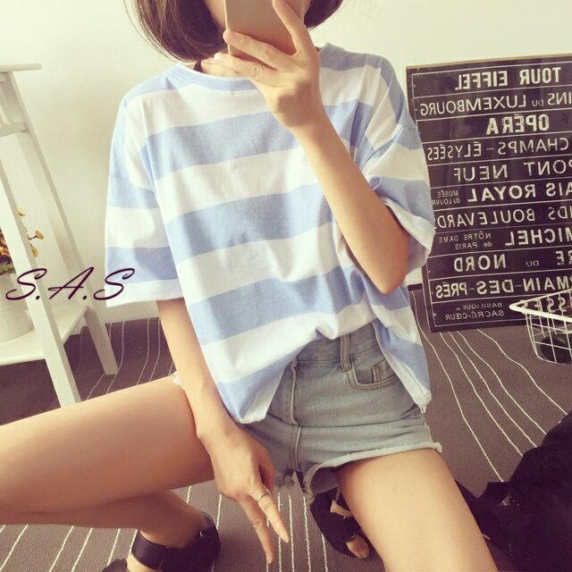圓領條紋短T  糖果色條紋短袖T恤 簡約條紋T 圓領寬鬆條紋T 條紋上衣 短Tee 271