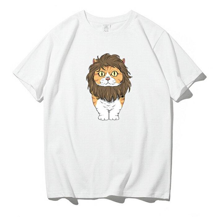 KUSO 搞笑 情侶裝 純棉短T MIT台灣製【YC686-13】萌寵 戴獅子鬃毛 橘貓  動物萌寵 快速出貨 9