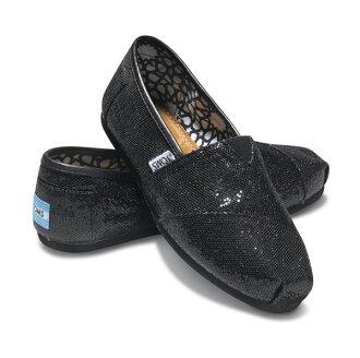 【TOMS】 經典亮片款平底休閒鞋(黑色) Black Glitter Women\