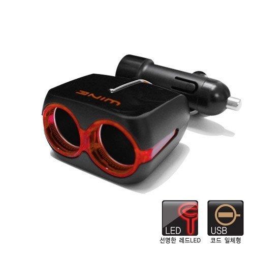 權世界@汽車用品 Autoban WINE 2.1A USB+2孔 黏貼式 點煙器鍍鉻裝飾電源擴充插座 AW-Z45
