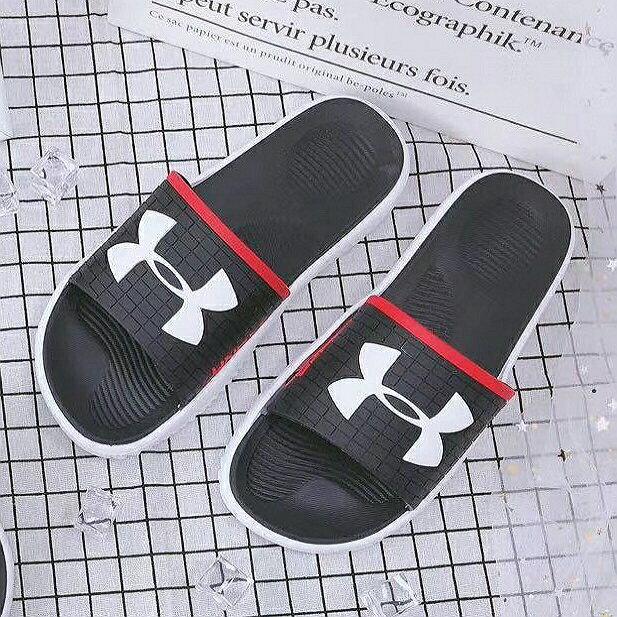 休閒拖鞋/U.A品牌/男款一字拖 黑色 (40/41/42/43/44/45)