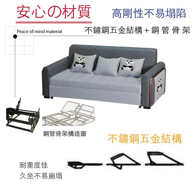 【綠家居】麥克 時尚雙色棉麻布多功能沙發/沙發床(拉合式機能設計)
