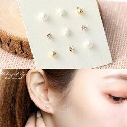 耳針 珍珠金珠星星水鑽耳針耳環組 極簡設計 柒彩年代【NDK50】