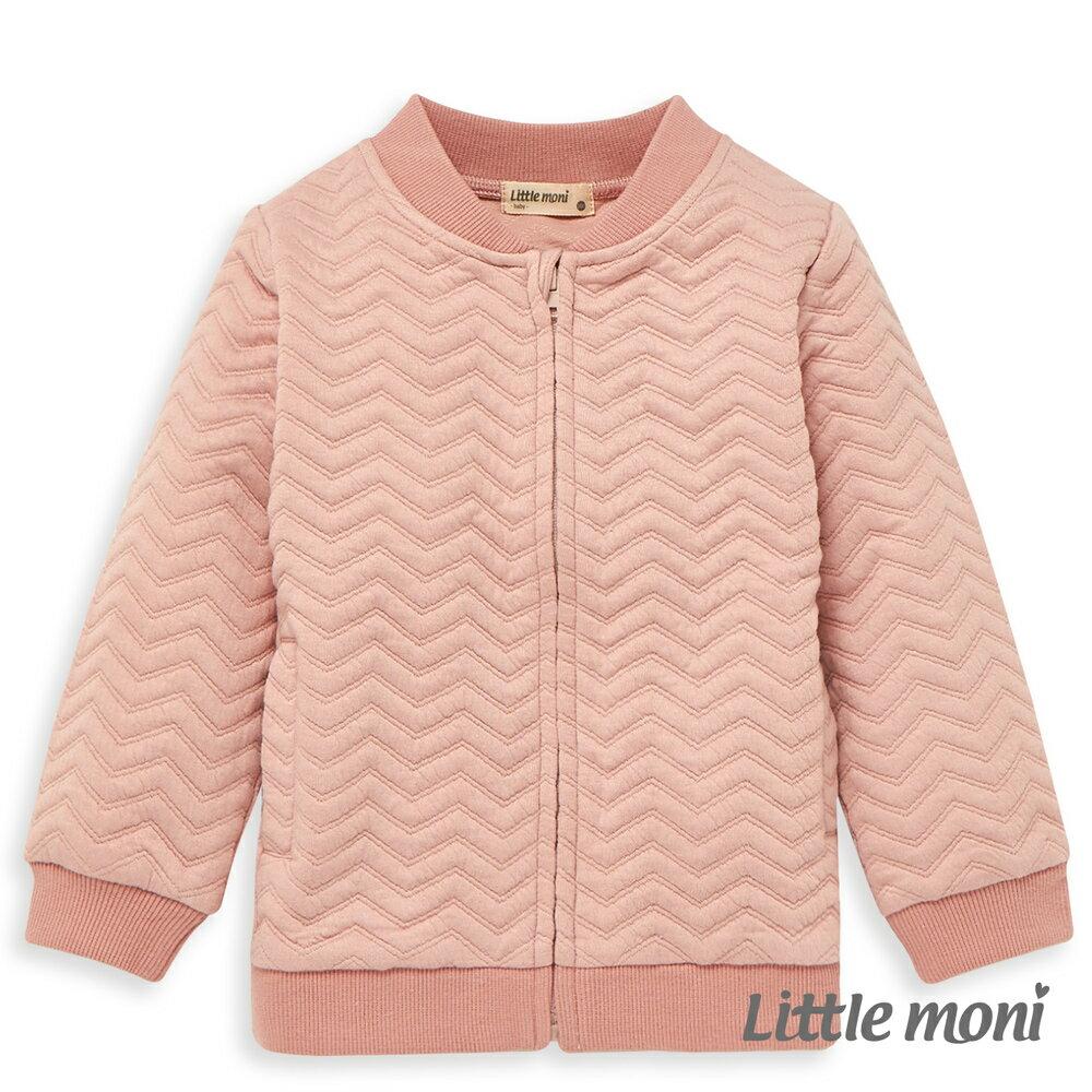 Little moni 幾合壓紋鋪棉外套-粉紅 0