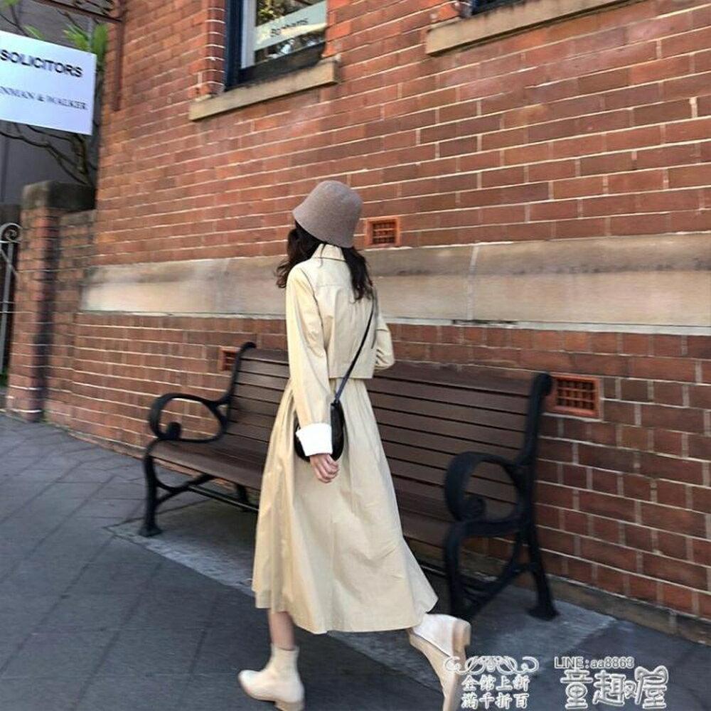 風衣  袖口撞色翻邊設計 純棉風衣女秋季外套   JD  全館八五折