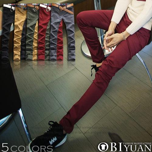 工作褲~ST1368~OBI YUAN韓國彈力布料剪裁款大麻葉皮標窄版休閒褲共5色