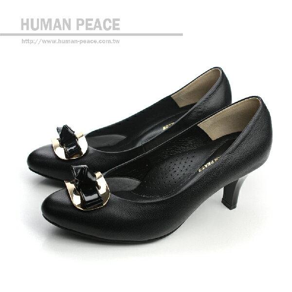 <br/><br/>  HUMAN PEACE 皮革 舒適 高跟鞋 戶外休閒鞋 黑色 女鞋 no176<br/><br/>