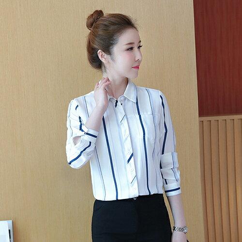 韓版百搭藍白條紋雪紡衫襯衫(白色S~2XL)【OREAD】 - 限時優惠好康折扣
