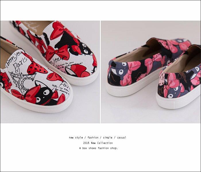【KP326】MIT台灣製 嚴選巴黎蝴蝶結貓咪圖案 鬆緊舒適休閒懶人鞋 樂福鞋 2色 2