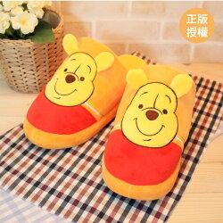 維尼造型絨布拖鞋-線條 26cm內 室內拖鞋 迪士尼 [蕾寶]