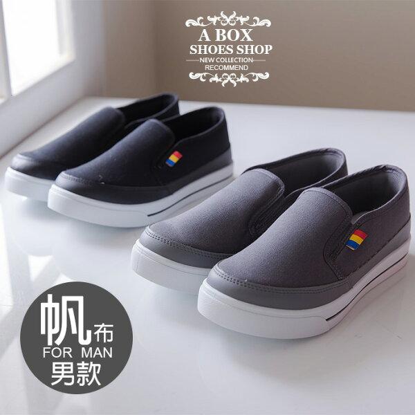 【AJ1573】MIT台灣製經典型男流行簡約舒適休閒帆布鞋懶人鞋滑板鞋2色