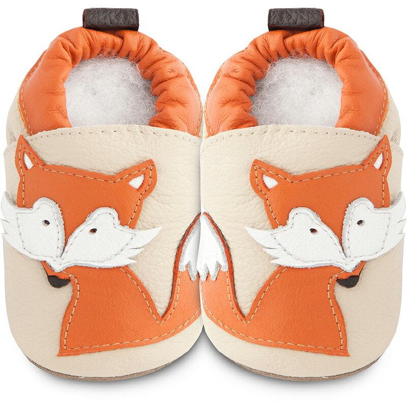 英國 shooshoos 健康無毒真皮手工鞋/專業真皮學步鞋/專業嬰兒鞋_米色/橘狐狸_SSF70  102111