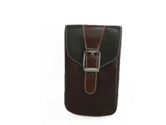 真皮手機腰包-休閒復古瘋馬皮 拼色皮帶扣 手機袋 htc 手機包 掛包 真皮包 零錢包 收納包(咖啡色)