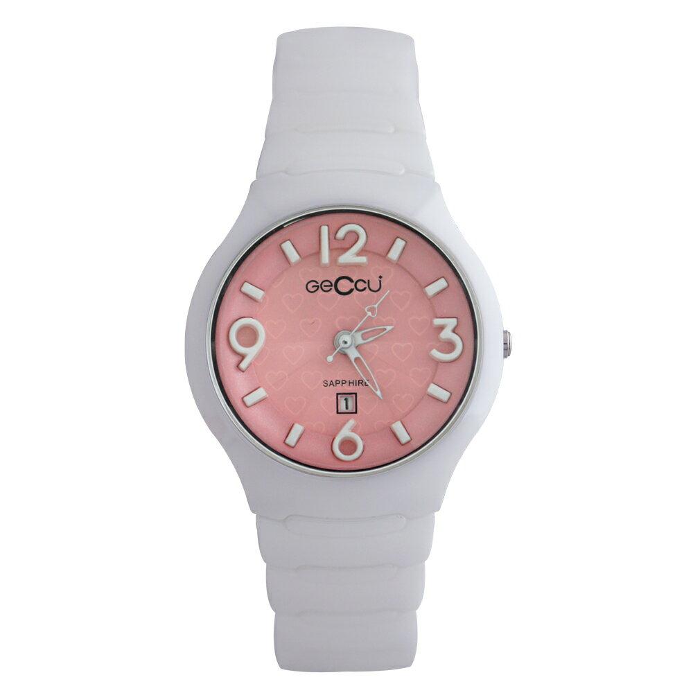 GECCU TC-1115 俏麗可愛心型切玻鏡面白色陶瓷錶帶*4色 4