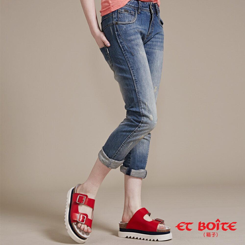 【結帳輸入『fashion2228-2』滿$888現折$100】【5折限定↘】3D立體修飾男友褲 - BLUE WAY ET BOiTE 箱子