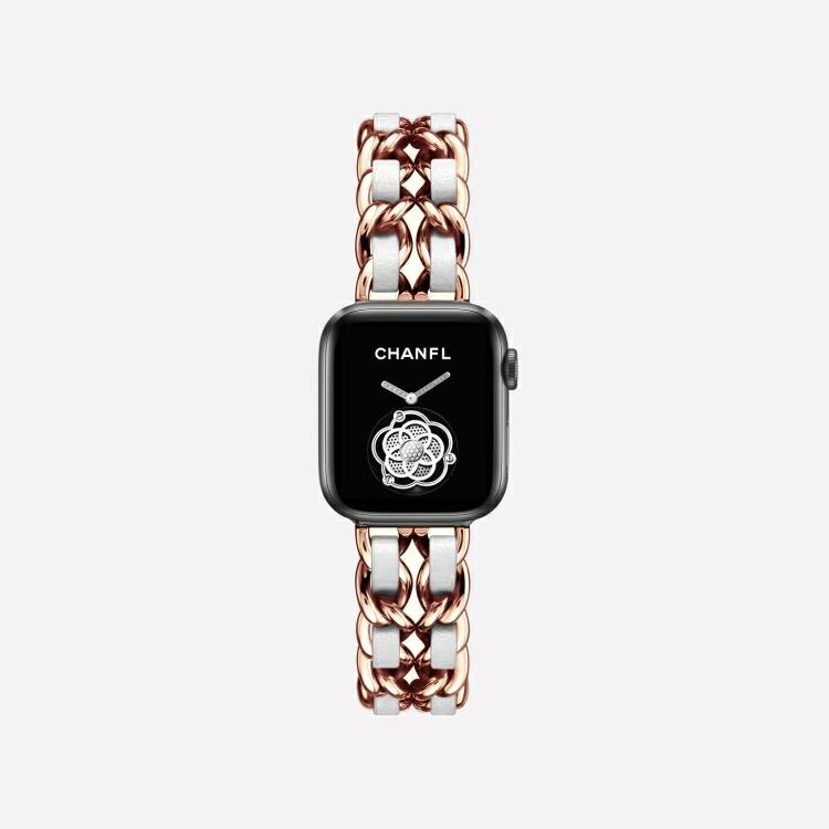 蘋果錶帶 【小香風】適用于iWatch 4/3/2/5/1蘋果手表表帶apple watch表帶真皮繩金屬牛仔