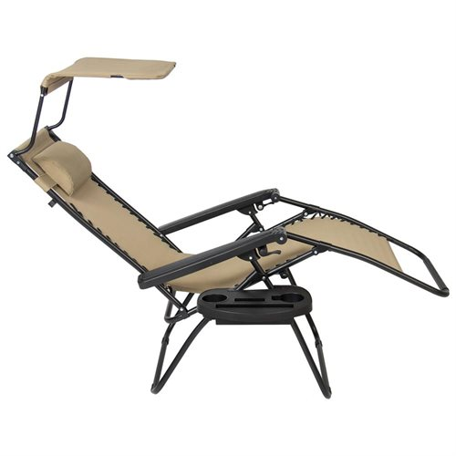 Folding Zero Gravity Recliner Lounge Chair With Canopy Shade U0026 Magazine Cup  Holder (Tan)