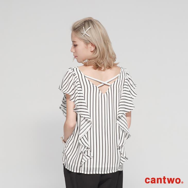 cantwo立體蓋袖荷葉雪紡上衣(共二色) 3