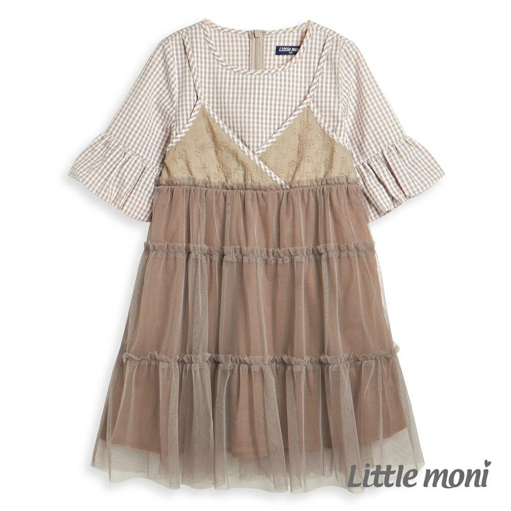 Little moni 假兩件網紗拼接洋裝-駝色 - 限時優惠好康折扣