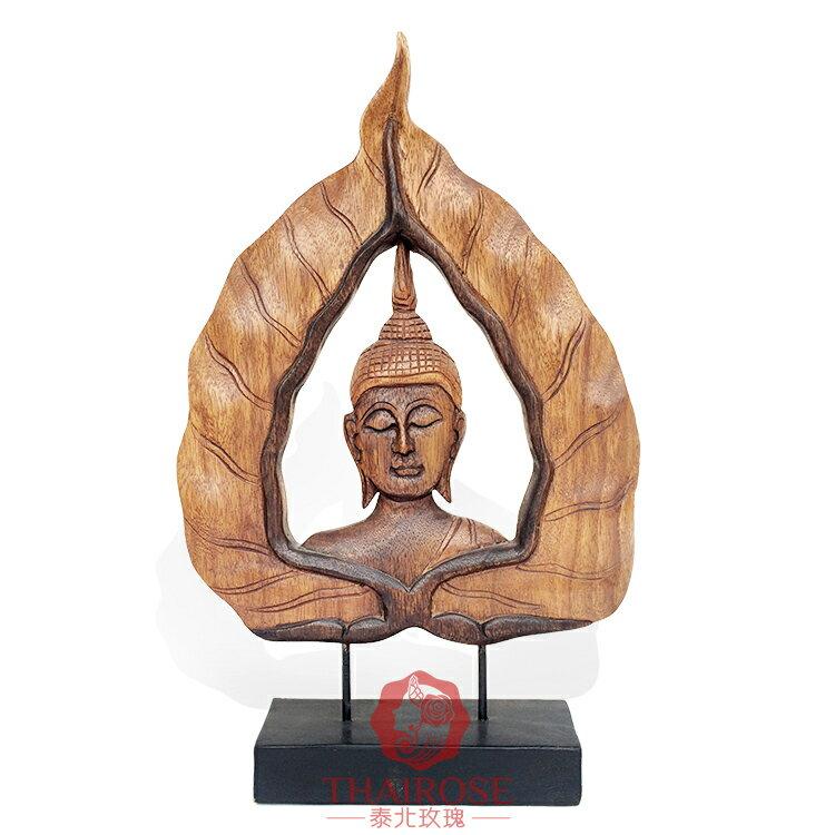 泰國工藝品 實木佛像擺件藝術裝飾品 鎮宅禪意東南亞風格家居飾品1入