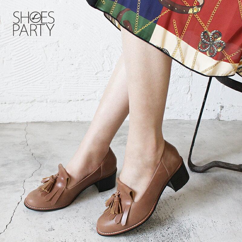 【P2-18122L】真皮流蘇樂福粗跟鞋_Shoes Party 1