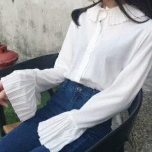美麗大街【KA62】 2017春季新品 壓褶娃娃領寬鬆喇叭袖長袖襯衣女雪紡衫上衣