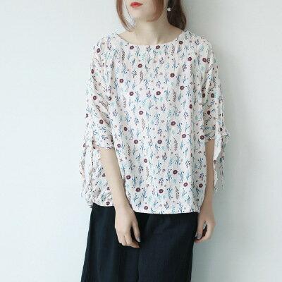女裝圓領繫帶袖口花朵短袖襯衫樂天時尚館。預購。[全店免運]