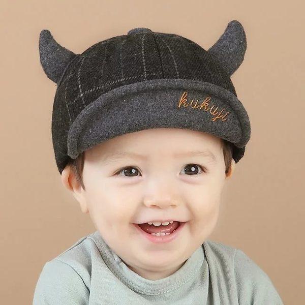 寶寶帽 格子牛角軟沿鴨舌帽  嬰兒帽 BU11829 好娃娃