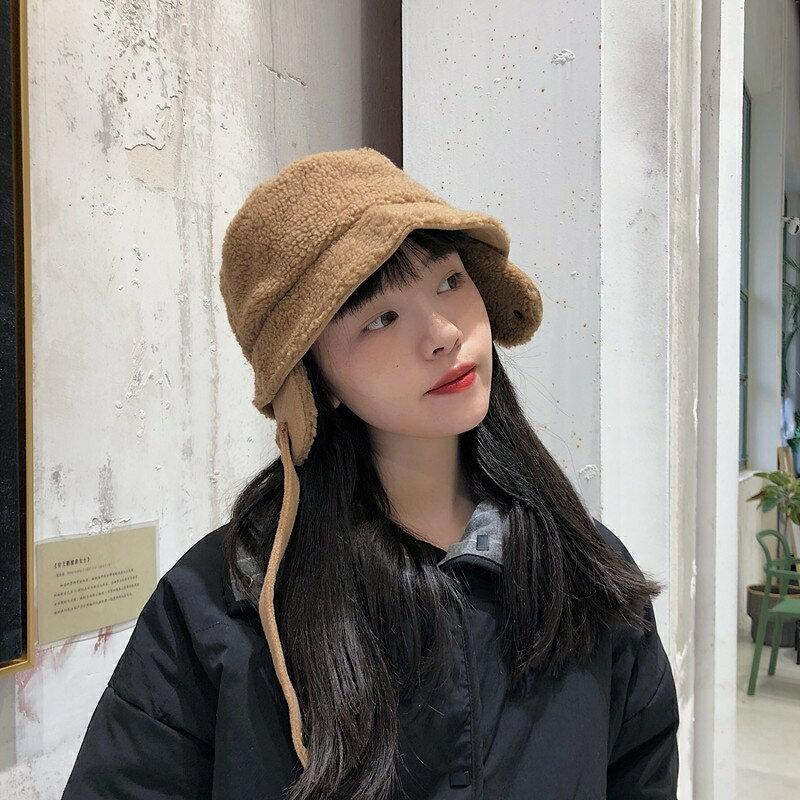 日系軟妹保暖可愛羊羔毛漁夫帽子女秋冬毛呢護耳加厚盆帽   秋冬新品特惠