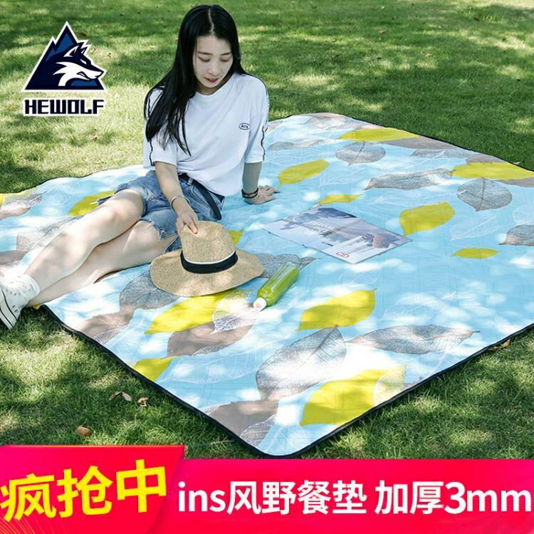 戶外野餐墊布防潮墊加厚春游墊便攜超輕防水野炊地墊ins風帳篷墊
