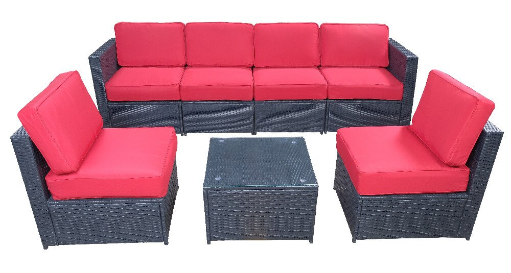 Mcombo Outdoor Patio Black Wicker Furniture Sectional Set All-Weather Resin  Rattan Chair Conversation Sofas with Water Resistant Cushion Covers ...