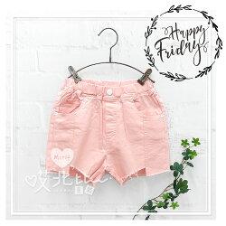 中大童 不規則下擺口袋粉紅牛仔短褲 女童 粉紅 短褲 牛仔 街頭 流行 美式 韓版 必備 基本款 素色 鬆緊 童裝