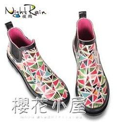 雨鞋夜雨雨鞋女短筒雨靴女中筒女士水鞋學生膠鞋女式防滑韓國時尚成人『櫻花小屋』