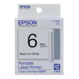 EPSON LC-2WBN C53S623001標籤帶(一般6mm)白黑 白底黑字 - 限時優惠好康折扣