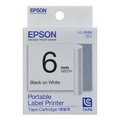 EPSON LC-2WBN C53S623001標籤帶(一般6mm)白黑 白底黑字